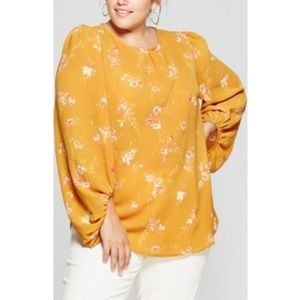 NWT mustard yellow floral blouse top 2X